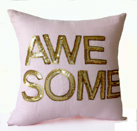 Handmade throw pillow cover with gold sequin