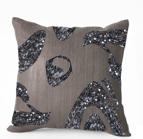 Handmade gray metallic throw pillow with sequin and embroidery