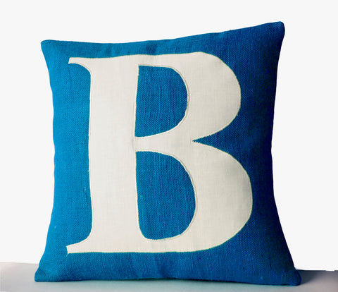 Blue Pillow Covers, Personalized Monogram Pillow, Burlap pillow Cover