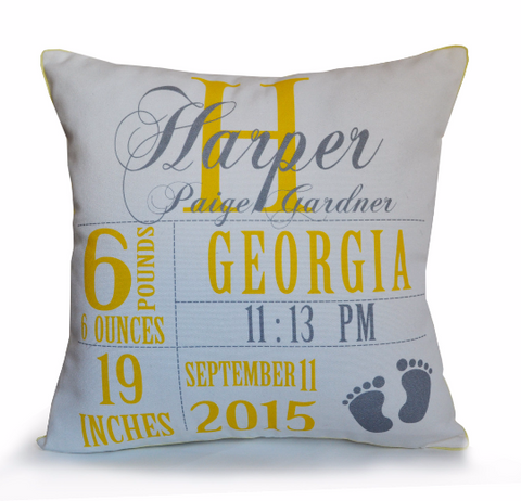 Handmade throw pillow with personalized baby stats