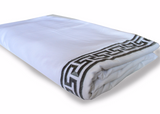 Greek key embroidered duvet covers in geometric design