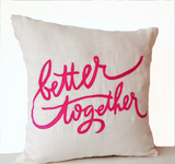 Handmade hot pink throw pillow with custom romantic messages