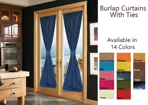 Burlap curtains and drapes with ties.