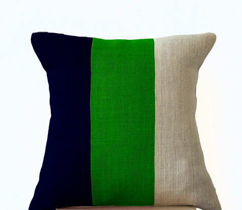 Modern Color block Pillow, Navy Green and white Burlap Throw pillow, Couch Pillow, Modern Decor