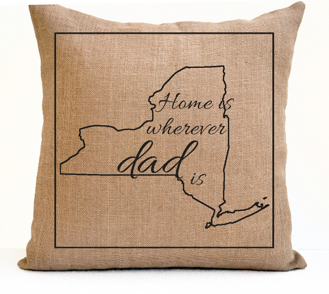 Handmade throw pillow cover with custom message for dad