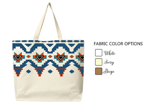 Handmade cotton Aztec tote bag