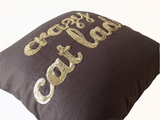 Handmade gray throw pillow with funny custom messages