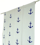 Navy blue anchor embroidered curtains and drapes.