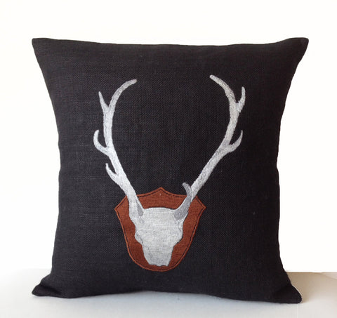 Deer Pillow Cover, Deer Antler Pillow In Black Burlap With Exquisitely Embroidered Deer Cushion