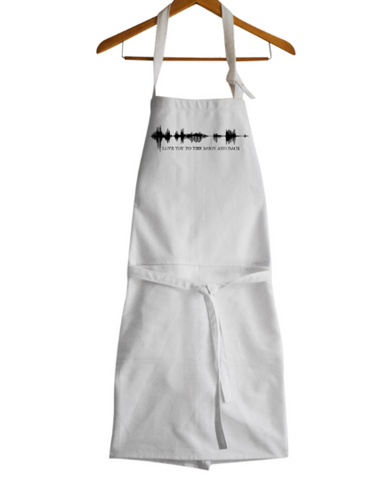 Love You To The Moon And Back Apron, Sound Wave Aprons, Message Aprons, Cotton Apron, Sound Wave Custom Apron, Gifts For Her, Wedding gifts.