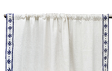Linen Curtain, Custom Made Curtains, Boho Embroidery Curtain, Linen Drapery, Ivory Navy Curtains, Embroidery Trim Window Treatment