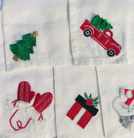 Set of 5 Linen Cocktail Napkin with Christmas Motif, Xmas Cocktail Napkins, Embroidered Cocktail Napkins, Holiday Season Cocktail Napkin
