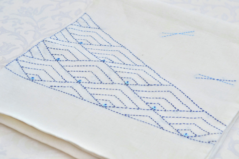 Table runner with sashiko embroidery in blue Handmade table runner Japanese embroidery table linen