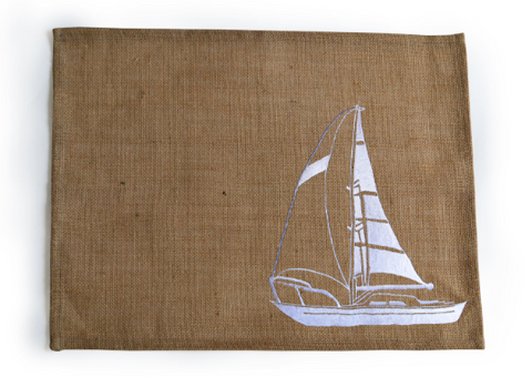 Set Of 4 Yacht Embroidered Burlap Placemats, Nautical Table Linen, Jute Tabletop Coastal Oceanic Table Decor, Wedding Gift, Yacht Decor
