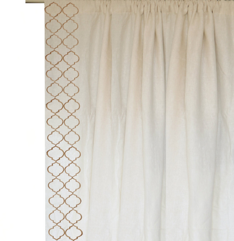 Ivory Linen Curtains, Beige Trellis Embroidery Curtain, Custom Window Curtains, Fretwork Door Curtain, Housewarming Gift, Window Treatment