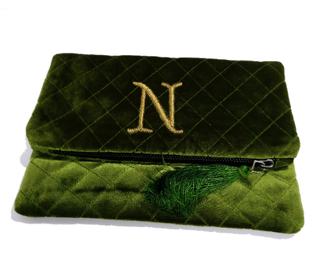 Olive Green Velvet Monogram Purse, Monogram Clutch, Monogram Purses, Bride To Be Gifts, Personalized Velvet Clutch, Valentine's Gift