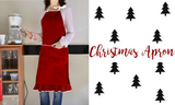 Christmas Apron -Burlap Full Kitchen Apron for Women -Red Ruffled Apron -Kitchen Linens for Home Gift Wholesale Business