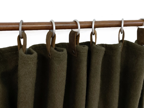 Olive Green Wool Felt Custom Curtains