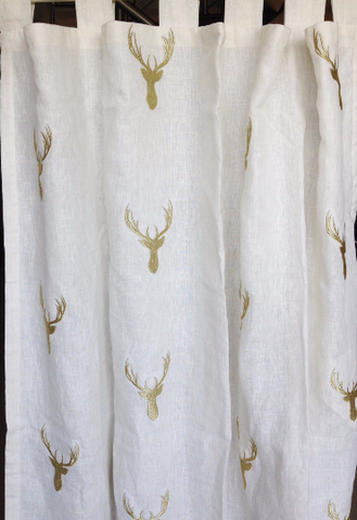Linen embroidered drapes and curtain panels