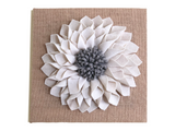 Flower Wall Hanging, Ivory Gray Flower, Burlap Wall Art, Ivory Dahlia, 3D Felt Flower, Girl Wall Decor, Girl Birthday Gift, Girls Room Gift