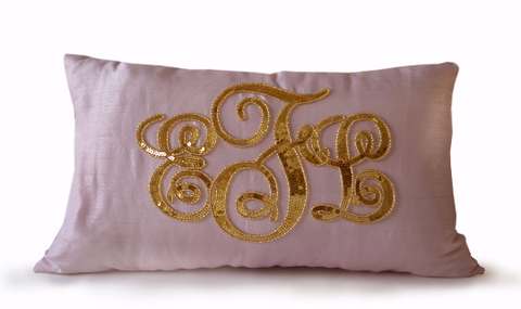 Handmade silk throw pillow with gold sequin and custom monogram