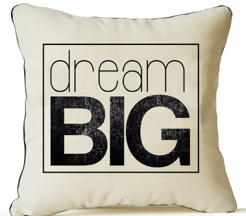 Handmade organic cotton throw pillow with custom typography