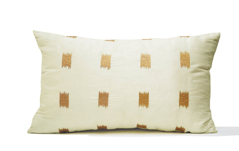 Ivory Silk Pillow Cover, Ikat Pillow, Lumbar Pillow, Embroidery Embroidered,