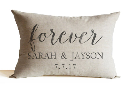 Names, forever and date couple pillow, perfect bridal shower gift,decorative throw pillow