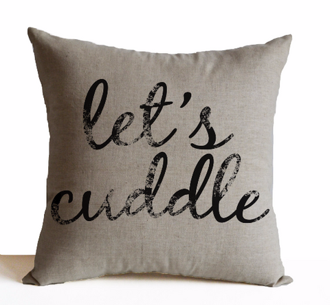 Handmade oatmeal linen throw pillow with cute Personalized message