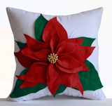 Handmade red felt on white cotton cushion pillowcase