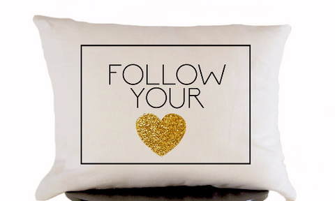 Handmade white linen throw pillow with gold heart design