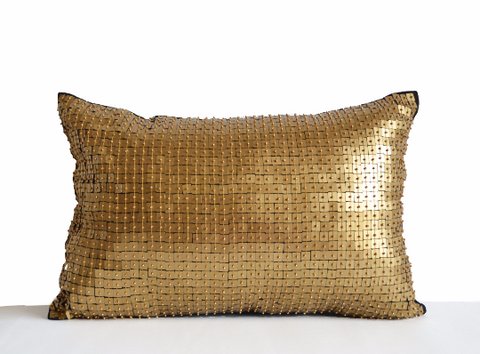 Handmade navy blue throw pillow with gold sequin
