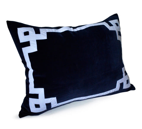 Navy Blue Greek Key Throw Pillow Cover