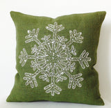 Christmas In July, Snowflake Pillow, Green Throw Pillow, Burlap Pillow Cushions