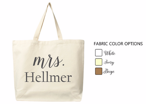 Handmade bridesmaids' tote bags with monogram