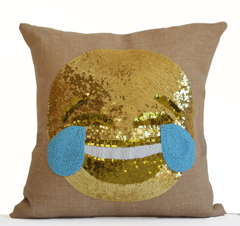 Smiley Face Pillows, Joy Pillows, Happy Face Throw Pillow Covers, Burlap Gold Pillows
