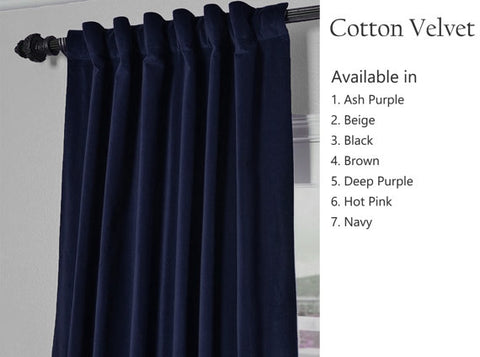 Amore Beaute Velvet Curtain Navy Blue Curtain