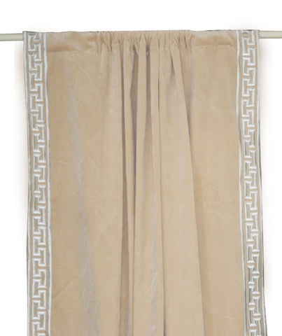 Oatmeal Cotton Velvet Curtain in Greek Key Pattern