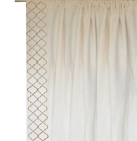 Amore beaute linen curtain with trellis embroidery