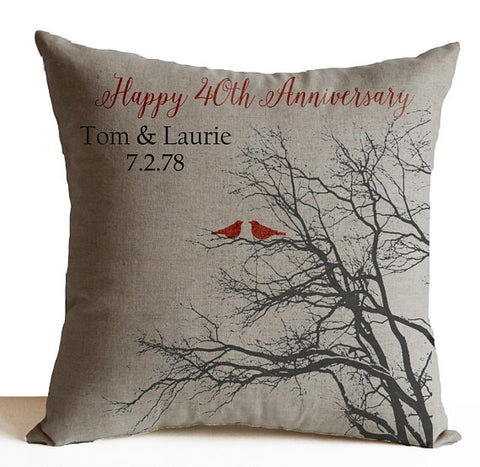 40th Ruby Anniversary Pillow