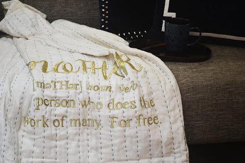 Mother's Day Personalized Linen Throw Blanket