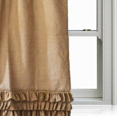 Handmade Burlap Curtains With Ruffled Curtain Panel