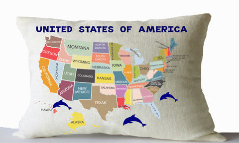 Handmade US map throw pillow for kids