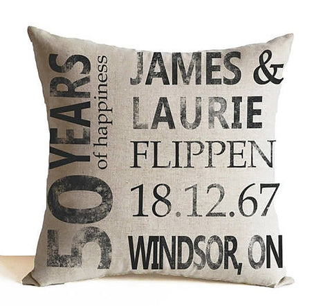 Couple Pillow, Golden Anniversary Linen Pillow, Wedding Pillow