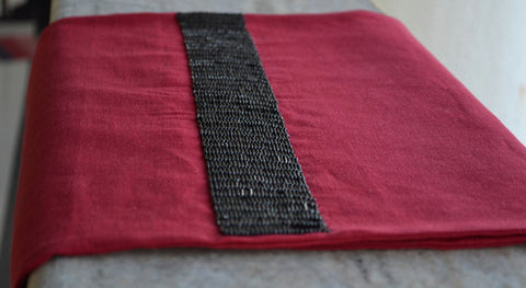 Rio red table runner with black beads embroidery