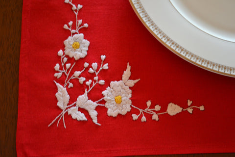Embroidered red Christmas place mats handcrafted with care