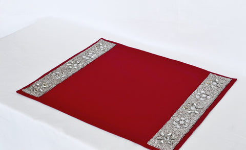 Set of 4 Red place mats with diamond glaze -Placemats with crystal and beads - Christmas dining room- Housewarming Wedding Anniversary Gifts