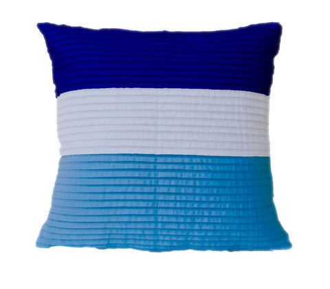 Handmade blue stripe cotton pillow