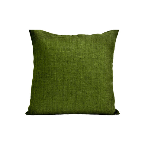 Handmade burlap green throw pillows
