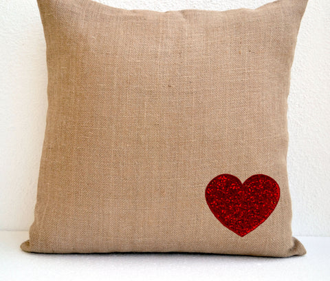 Handmade burlap heart pillow cover with red sequin